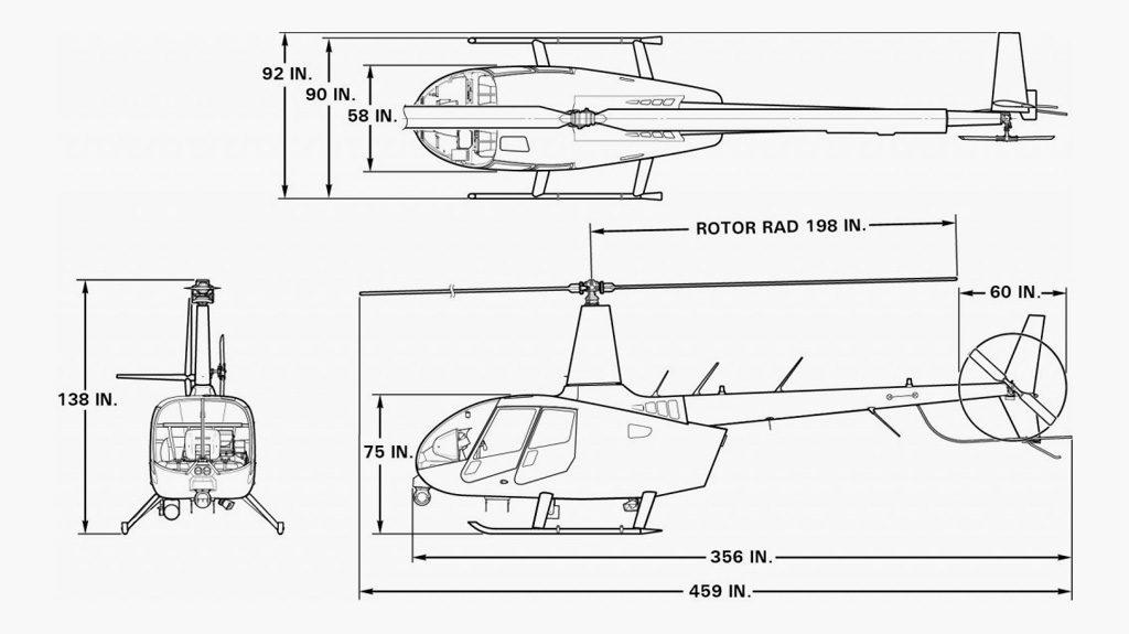 Dimensões do R66 Police/News Helicopter